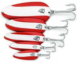 Red and White Dardevle Fishing Spoons
